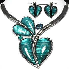 Antique Necklace Earring Set Heart Gray Turquoise FNE976