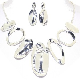 "17""-20"" Necklace Earrings Set Curve Oval Silver Tone FNE979"