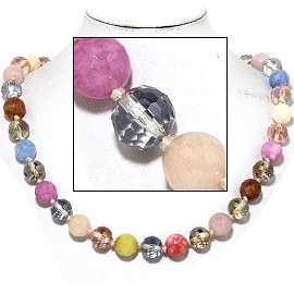 "20"" Necklace Crystal Ball Bead Magnetic Clasp Multi Color FNE984"