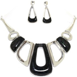 "17""-20"" Necklace Earrings Set Rectangle Gem Silver Black FNE995"