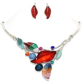 "16""-19"" Necklace Earrings Set Leaf Leaves Gems MultiColor FNE999"