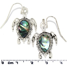 Abalone Earrings Sea Turtle Tear Black Silver Tone Ger355
