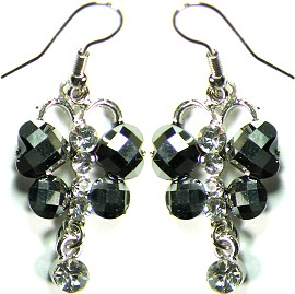 Obsidian Hearts Crystals Silver Earrings Ger495