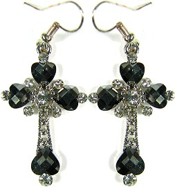 Obsidian Cross Crystals Silver Earrings Ger497
