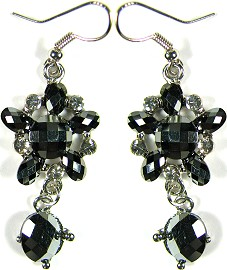 Obsidian Star Crystals Silver Earrings Ger500