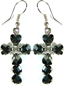 Obsidian Cross Crystals Silver Earrings Ger503
