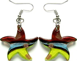 12 Pairs Red Yellow Starfish Glass Earrings GER520