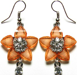 Crystal Earrings Silver Orange 5L Flower GER614