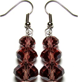 Line Crystal Earrings Dark Red GER697