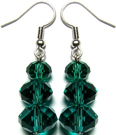 Line Crystal Earrings Dark Green GER700