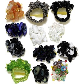12 Pieces Mini Stone Crystal Flower Rings Mix Colors Gem12