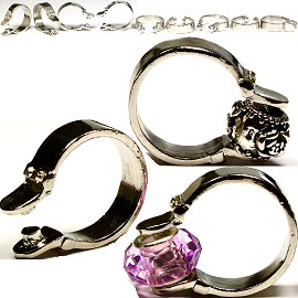 12pcs Empty Rings Silver For Charms And Beads Gem17