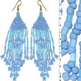 Dangle Earrings Beads Tubes Gold Tone Turquoise Blue Ger000