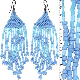Dangle Earrings Beads Tubes Silver Tone Turquoise Blue Ger001