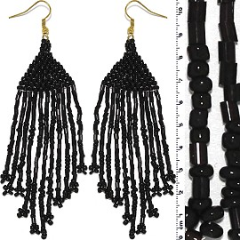 Dangle Earrings Beads Tubes Gold Tone Shiny Black Ger003