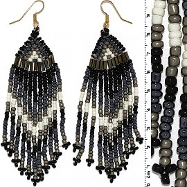 Dangle Earrings Beads Tubes Gold Tone Black Gray White Ger004