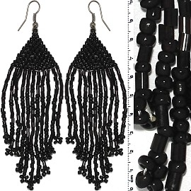 Dangle Earrings Beads Tubes Silver Tone Shiny Black Ger005