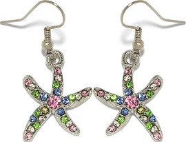 Rhinestone Earrings Starfish Silver Multi Color Ger007