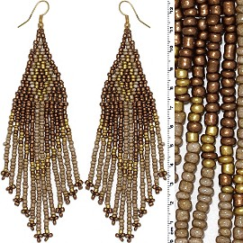 Dangle Earrings Beads Gold Tone Bronze Brown Ger018