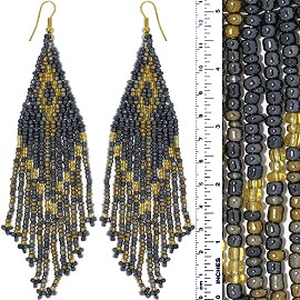 Dangle Earrings Beads Gold Tone Yellow Gray Ger023