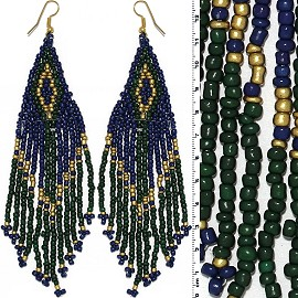 Dangle Earrings Beads Gold Tone Green Blue Ger024