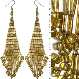 Dangle Earrings Beads Tubes Gold Tone Gold Yellow Ger026