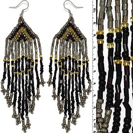 Dangle Earrings Beads Tubes Silver Tone Black Gray Yellow Ger030
