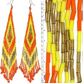 Dangle Earrings Beads Tubes Silver Tone Yellow Orange Gol Ger042