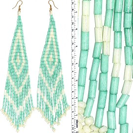Dangle Earrings Beads Tubes Gold Tone Baby Green Cream Wh Ger050