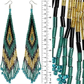 Dangle Earrings Beads Tubes Gold Tone Teal Turquoise Tan Ger054