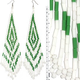 Dangle Earrings Beads Tubes Silver Tone White Green Ger056