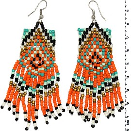 Dangle Earrings Beads Silver Tone Orange Turquoise Gold Ger068