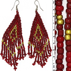 Dangle Earrings Beads Silver Tone Dark Red Gold Ger078