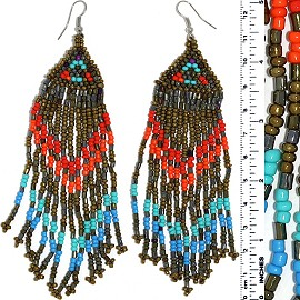 Dangle Earrings Beads Silver Tone Bronze Orange Turquoise Ger080