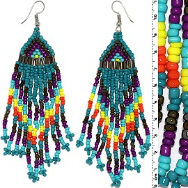Dangle Earrings Beads Tubes Silver Tone Teal Purple Yello Ger085