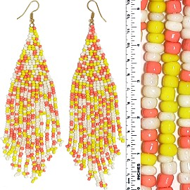 Dangle Earrings Beads Gold Tone Yellow Peach White Ger098