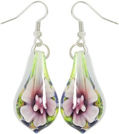 Glass Earrings Flower Tear White Green Pink Ger1032