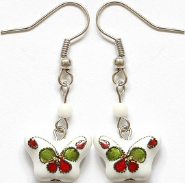 Cloisonné Earrings Butterfly White Ger1071