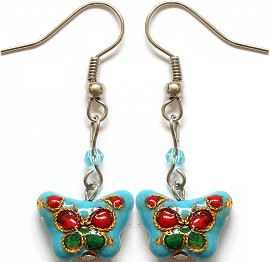 Cloisonné Earrings Butterfly Turquoise Ger1073