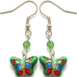 Cloisonné Earrings Butterfly Green Blue Ger1078
