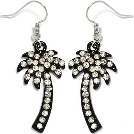 Rhinestone Earrings Palm Tree Black Ger1161