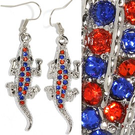 Gator Earrings Rhinestone Silver Orange Blue Ger1270
