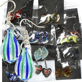 12Pair Glass Earrings Mixed Colors & Designs Ger1281