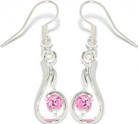 Rhinestone Earrings Silver Pink Ger1289
