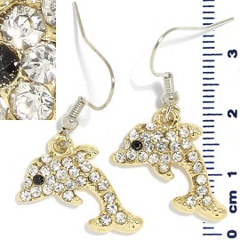 Rhinestone Earrings Dolphin Clear Gold Ger1305