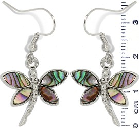 Abalone Earrings Dragonfly Silver Green Ger1335