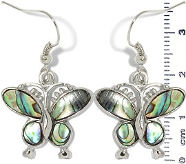 Abalone Earrings Butterfly Silver Green Ger1336