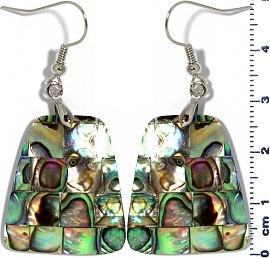 Abalone Earrings Rectangle Trapezoid Green Ger1348