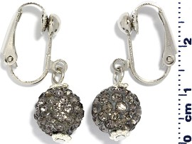 Rhinestone Earrings Clip On Disco Ball Gray Ger1372