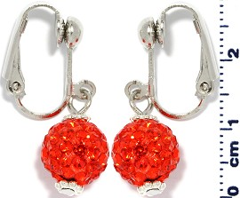 Rhinestone Earrings Clip On Disco Ball Dark Orange Ger1374